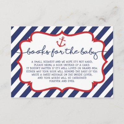 Nautical Books for Baby Insert Card Navy Anchor
