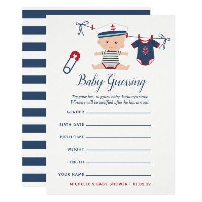 Nautical Boy Baby Shower Baby Predictions Game Invitation