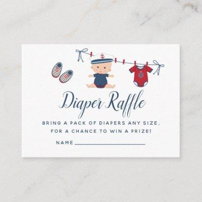 Nautical Boy Baby Shower Diaper Raffle Enclosure Card