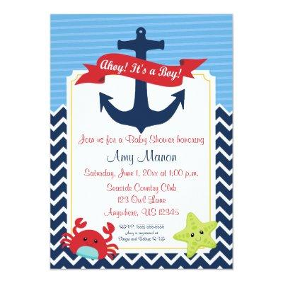 Nautical Boy Baby Shower Personalized Invitations