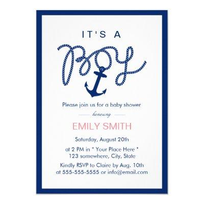 Nautical Boy Navy Blue Anchor Baby Shower Invitations