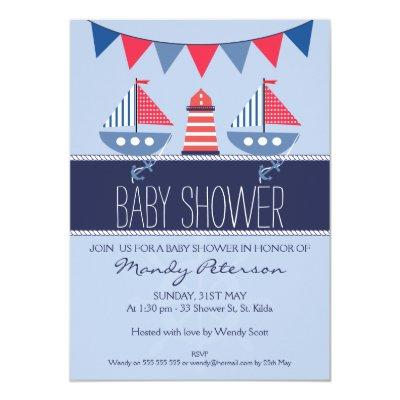 Nautical Bunting Boats Baby Shower invitation