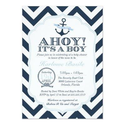 Nautical Chevron Baby Boy Shower Invitation Blue