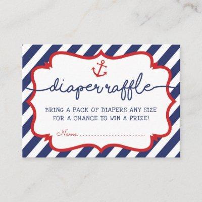 Nautical Diaper Raffle Beach Sea Baby Boy Navy Red Enclosure Card