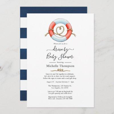 Nautical Drive By Bridal or Baby Shower Invitation