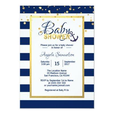 Nautical Gold Navy Blue White Stripes Baby Shower Invitation