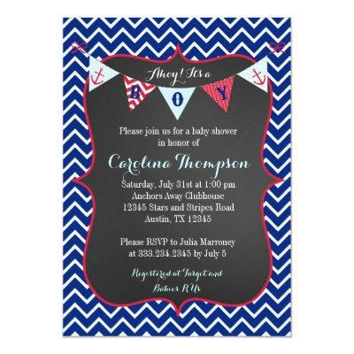 Nautical Navy Baby Boy Shower Invitation Invite