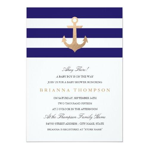 Nautical Navy Baby Shower Invitations