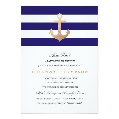 Nautical Navy Baby Shower Invitations
