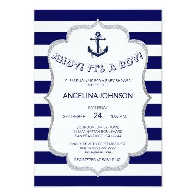 Nautical Navy Blue White Stripes BABY SHOWER Invitation