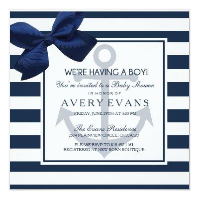 Nautical Navy Ribbon Anchor It's a Boy Baby Shower Invitations
