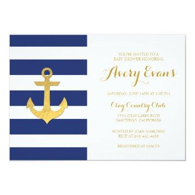Nautical Navy Stripe Baby Shower with Gold Anchor Invitations