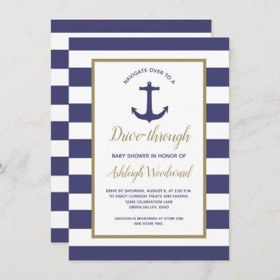 Nautical Navy Stripes Drive-Through Baby Shower Invitation