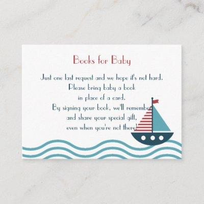Nautical red and blue boat BOOKS REQUEST Custom Enclosure Card