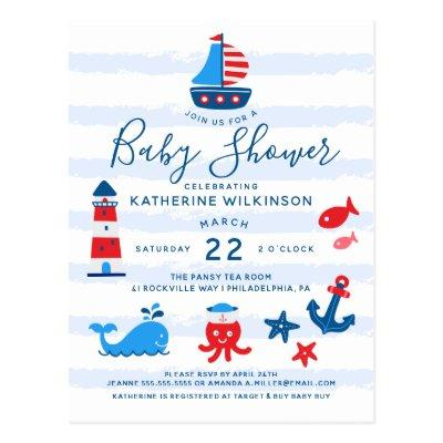Nautical Red, White & Blue Baby Shower Postcard
