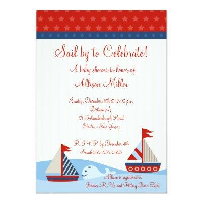 Nautical Sail By to Celebrate Boy Baby Shower Invitations