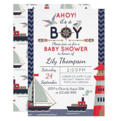 Nautical Sailboat Ahoy Baby Boy Shower Invitations