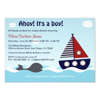 Nautical Sailboat Baby Boy Baby Shower Invitations