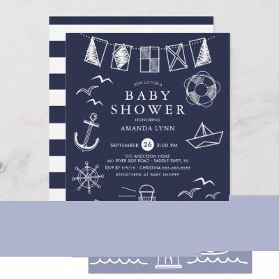 Nautical Sailboat Boy Baby Shower Invitation