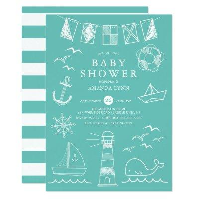 Nautical Sailboat Gender Neutral Baby Shower Invitation
