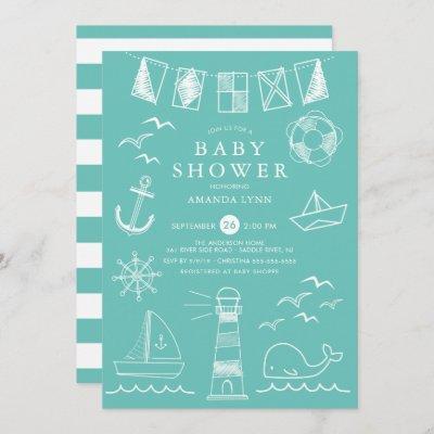 Nautical Sailboat Gender Neutral Baby Shower Invitation