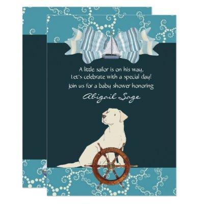 Nautical Sailboat Labrador Dog Baby Shower Invitation