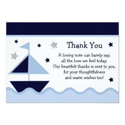 Nautical/Sailboat/Navy Baby Shower Thank You Invitations