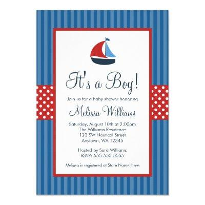 Nautical Sailboat Stripes Invitations