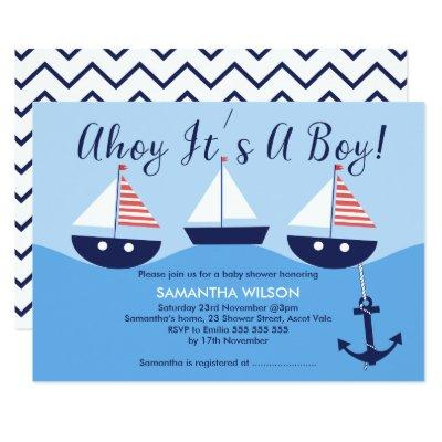 Nautical Sailboats Baby Shower Invitation