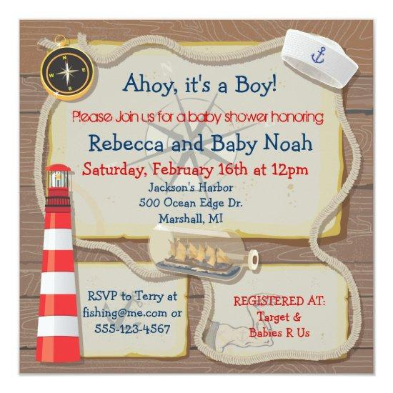 Nautical Sailor Baby Shower Invitations