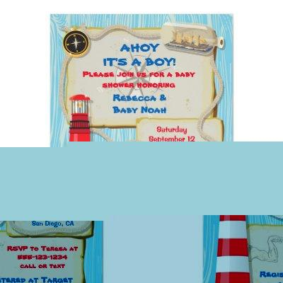 Nautical Sailor Baby Shower party Invitations