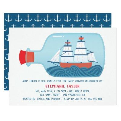 Nautical Ship In A Bottle Baby Shower Invitations