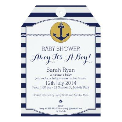 Nautical Tag Baby Shower Invitations