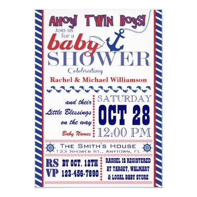 Nautical Twin Baby Boy Shower Invitations