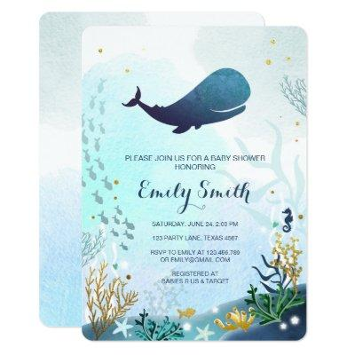 Nautical Whale Baby Shower Invitations Ocean Ahoy