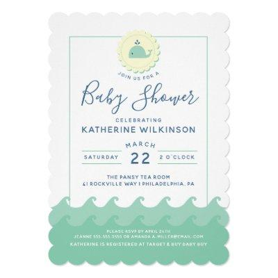 Nautical Whale Pastel Baby Shower Invitations