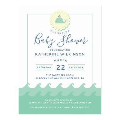 Nautical Whale Pastel Baby Shower Invitation Postcard