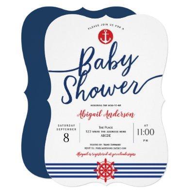 Navy, Anchor, Modern, Nautical Theme, Baby Shower Invitation