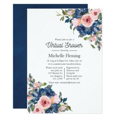 Navy and Blush Floral Virtual Baby Shower Invitation