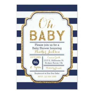 Navy And Gold , Baby boy Invitations