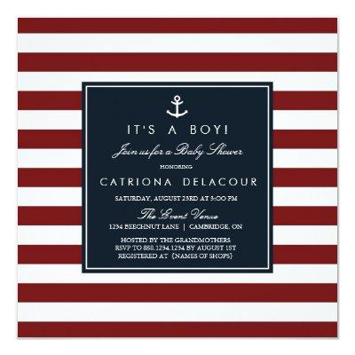 Navy and Red Nautical Baby Shower Invitations