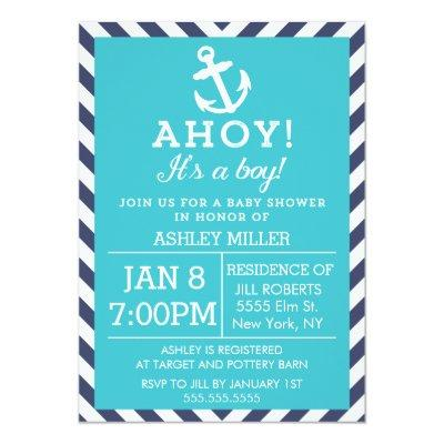 Navy and Turquoise Nautical Chevron Baby Shower Invitation