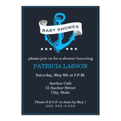 Navy Blue Anchor Invitations