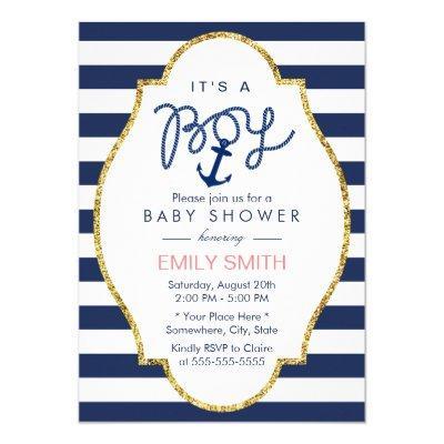 Navy Blue Anchor Nautical Stripes Boy Baby Shower Invitations