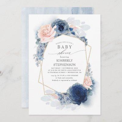 Navy Blue and Dusty Pink Floral Baby Shower Invitation