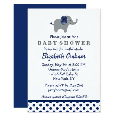 Navy Blue and Gray Elephant Baby Shower Invitation