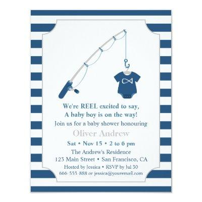 Navy Blue and Grey Fishing Themed Baby Shower Invitations