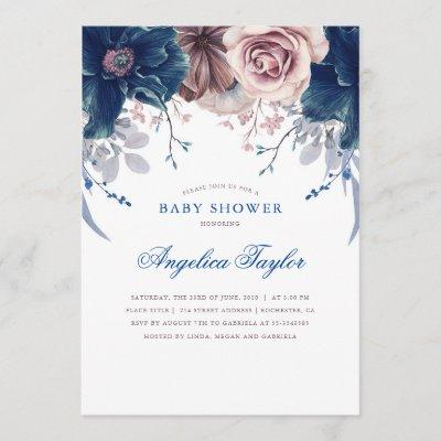Navy Blue and Mauve Floral Baby Shower Invitation