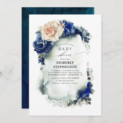 Navy Blue and Orange Floral Vintage Baby Shower Invitation