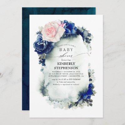 Navy Blue and Pink Floral Vintage Baby Shower Invitation